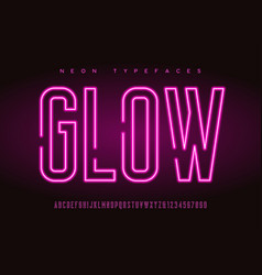Glowing linear neon typefaces alphabet vector