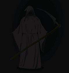 Grim reaper with scythe in dark vector