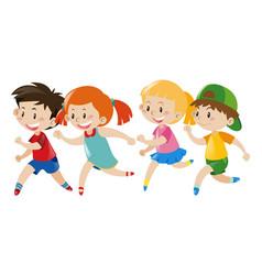 Group kids running vector