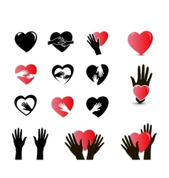 Hands and heart icon set vector