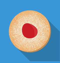 hanukkah donut with jelly and sugar powder vector image