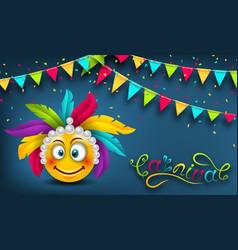 happy carnival festive banner smile emoji vector image