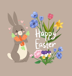 happy easter card with cute rabbit with carrot vector image