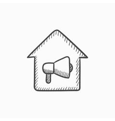 House fire alarm sketch icon vector image