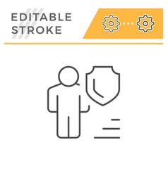 Human insurance editable stroke line icon vector