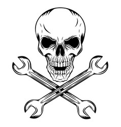 human skull with crossing wrenches vector image