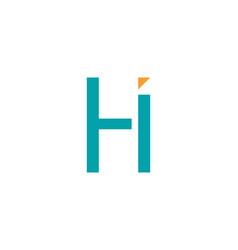 initial letter hi logo template design vector image