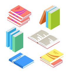 isometric books and notepad isolated on white vector image