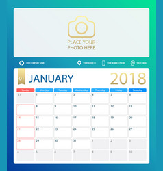january 2018 calendar or desk vector image