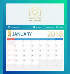 january 2018 calendar or desk vector image