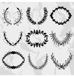 Laurel wreaths set vector