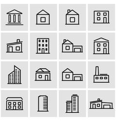 line buildings icon set vector image