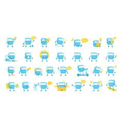 Little blue robot mascot character big set all vector