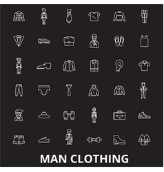 man clothing editable line icons set on vector image
