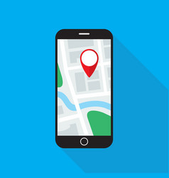 map application on smartphone monitor flat design vector image