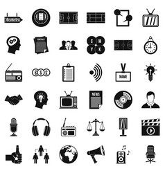 mass communication icons set simple style vector image