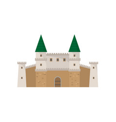 medieval old stone architecture castle with green vector image