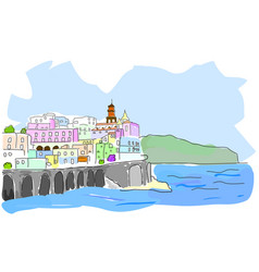mediterranean town sketch of sea town in vector image