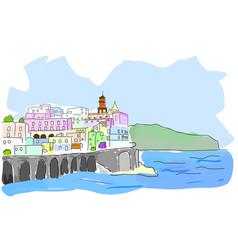 Mediterranean town sketch sea town in vector