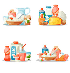 Milk dairy products flat style breakfast vector