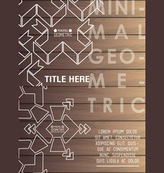 minimal geometric template with wooden background vector image
