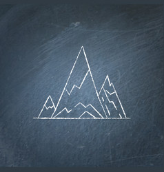 Mountain peaks icon on chalkboard vector