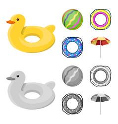 Multicolored swimming circle cartoonmonochrome vector
