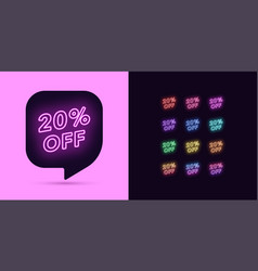 neon discount tag 20 percentage off offer sale vector image