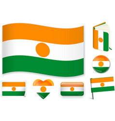 Niger flag in seven shapes editable with separate vector