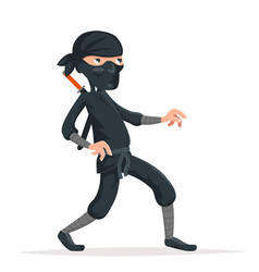 Ninja thief sneak walk sword asian assassin vector
