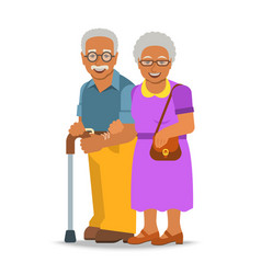 Old couple african man and woman standing together vector