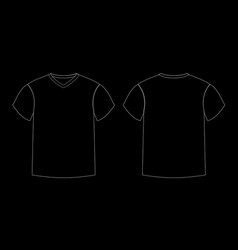 Outline countur of men s t-shirt template v-neck vector