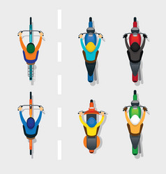 People on motorcycles and bicycles top or above vector