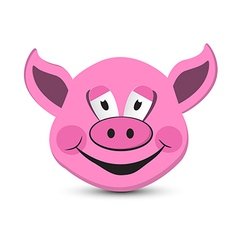 Pink Pig Head Isolated on White Background vector