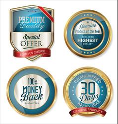 premium quality golden labels 3 vector image