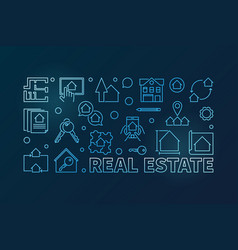 real estate outline blue horizontal vector image