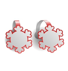 Red advertising wobblers shaped like snowflakes vector image