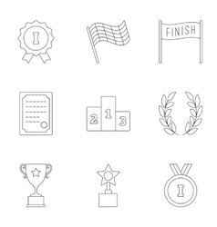 Rewarding icons set outline style vector image