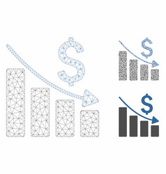 Sales crisis chart mesh 2d model and vector
