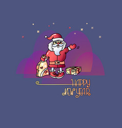 santa gifts and handwritten words happy new year vector image