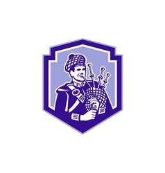 Scotsman Bagpiper Play Bagpipes Retro Shield vector image