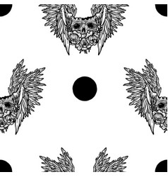 seamless pattern with a human skullwings vector image