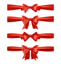 Set of red satin bows ribbons for gift vector