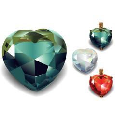 Set of Shiny Valentines Diamond Hearts vector
