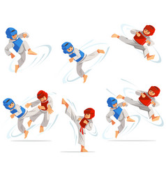 Set taekwondo boys characters in different vector