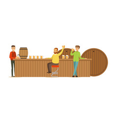 Smiling men drinking beer in a bar or pub vector