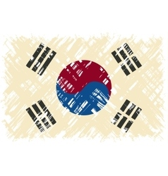 South Korean grunge flag vector image