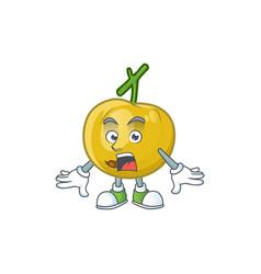 Surprised ripe araza cartoon with character mascot vector