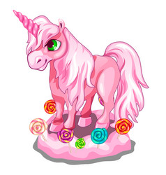 sweet pink unicorn with candy lollipops vector image