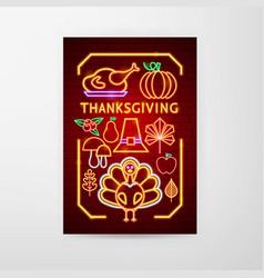 thanksgiving neon flyer vector image
